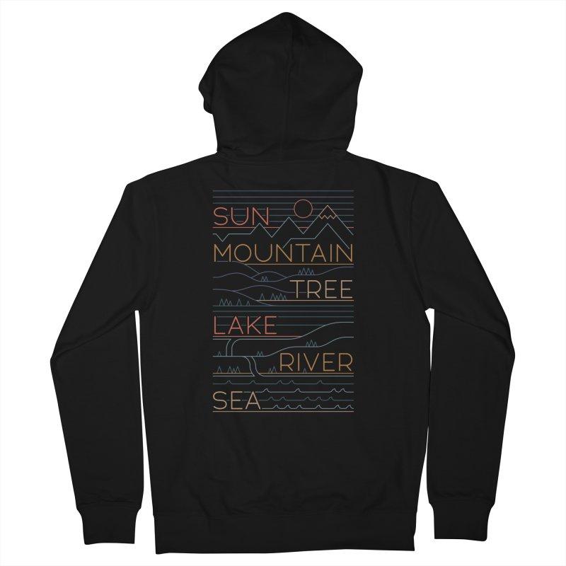 Sun, Mountain, Tree Men's Zip-Up Hoody by thepapercrane's shop
