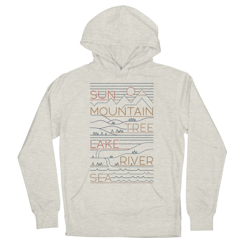 Sun, Mountain, Tree Women's French Terry Pullover Hoody by thepapercrane's shop
