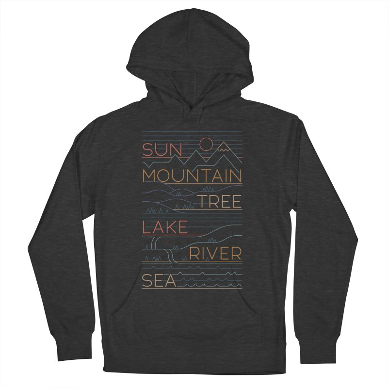 Sun, Mountain, Tree Men's French Terry Pullover Hoody by thepapercrane's shop