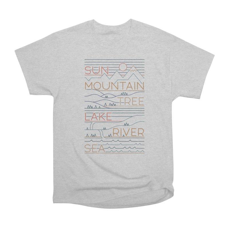 Sun, Mountain, Tree Women's Heavyweight Unisex T-Shirt by thepapercrane's shop