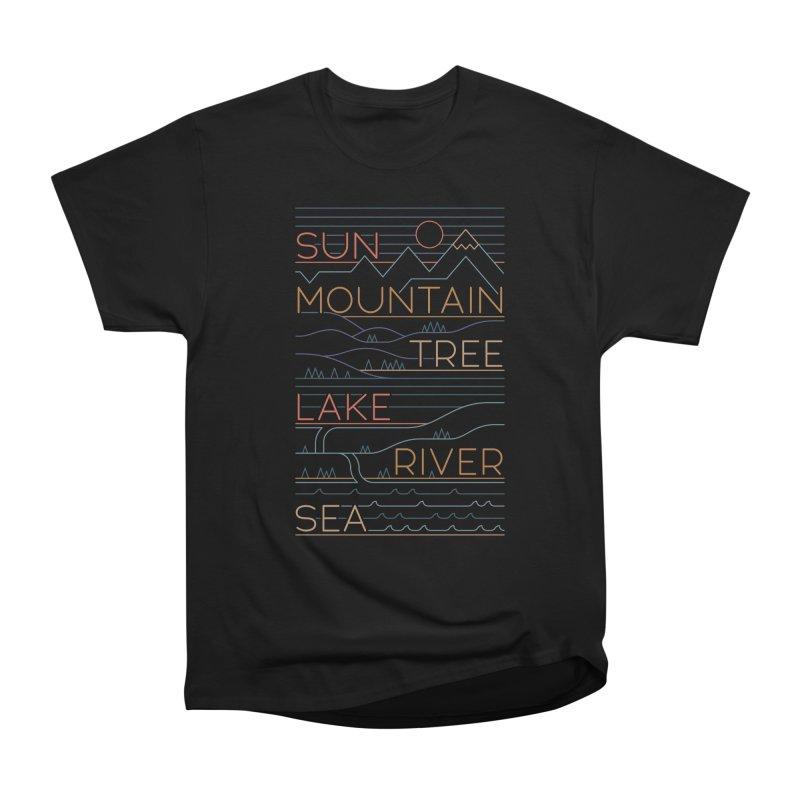 Sun, Mountain, Tree Men's Heavyweight T-Shirt by thepapercrane's shop