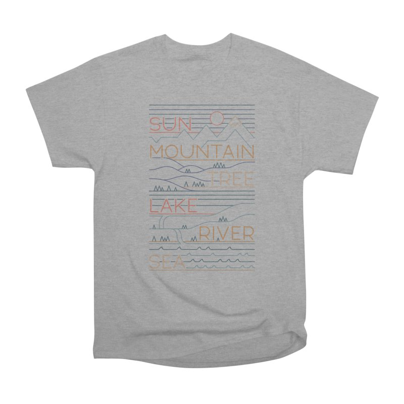 Sun, Mountain, Tree Men's Heavyweight T-Shirt by thepapercrane's shop