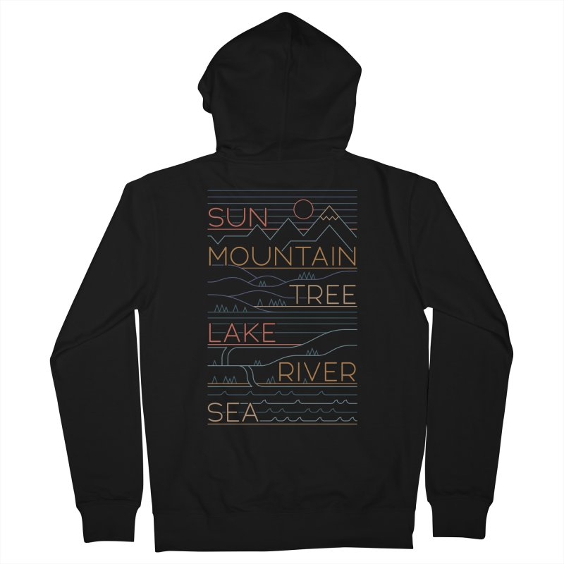 Sun, Mountain, Tree Women's French Terry Zip-Up Hoody by thepapercrane's shop