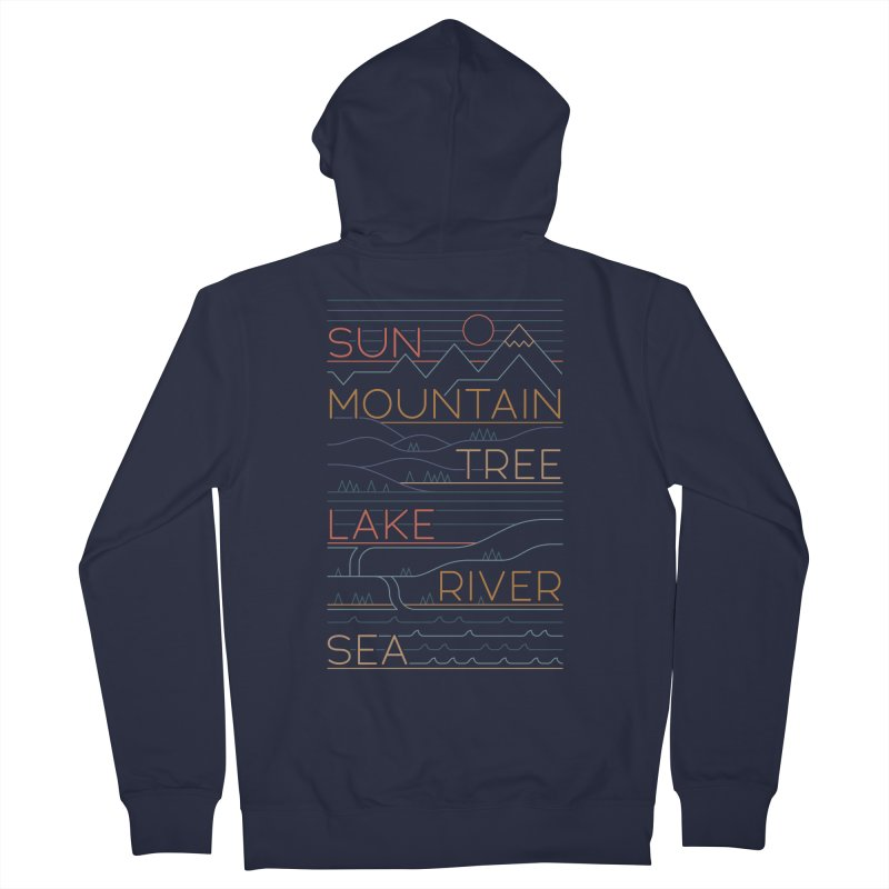 Sun, Mountain, Tree Men's French Terry Zip-Up Hoody by thepapercrane's shop