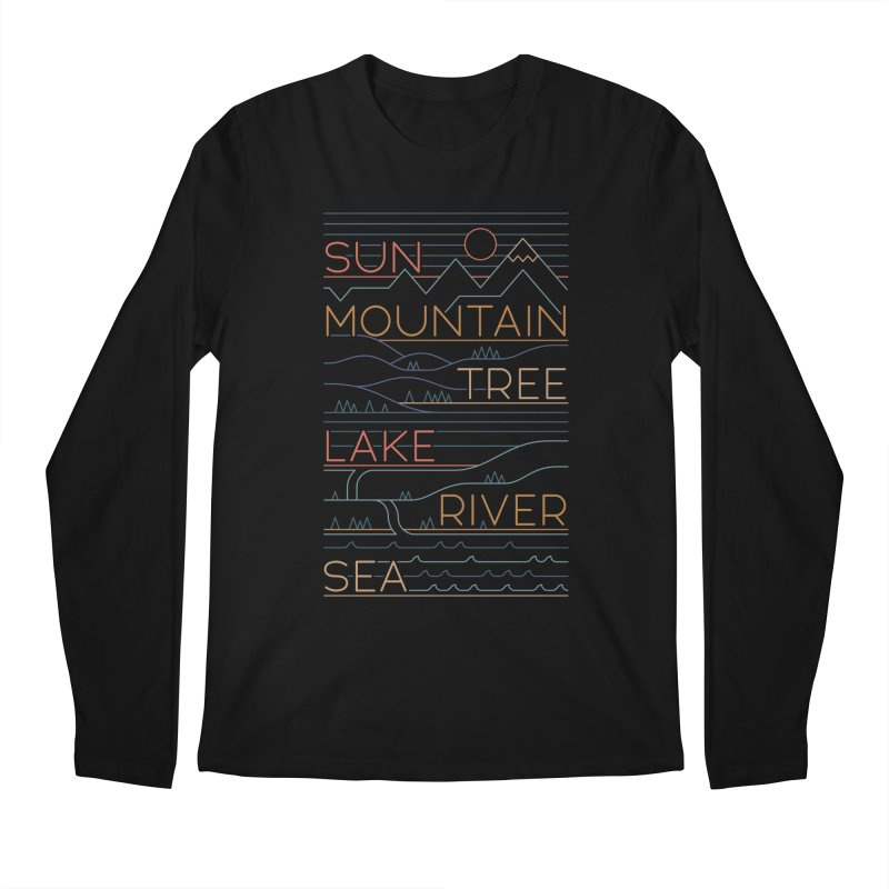 Sun, Mountain, Tree Men's Regular Longsleeve T-Shirt by thepapercrane's shop