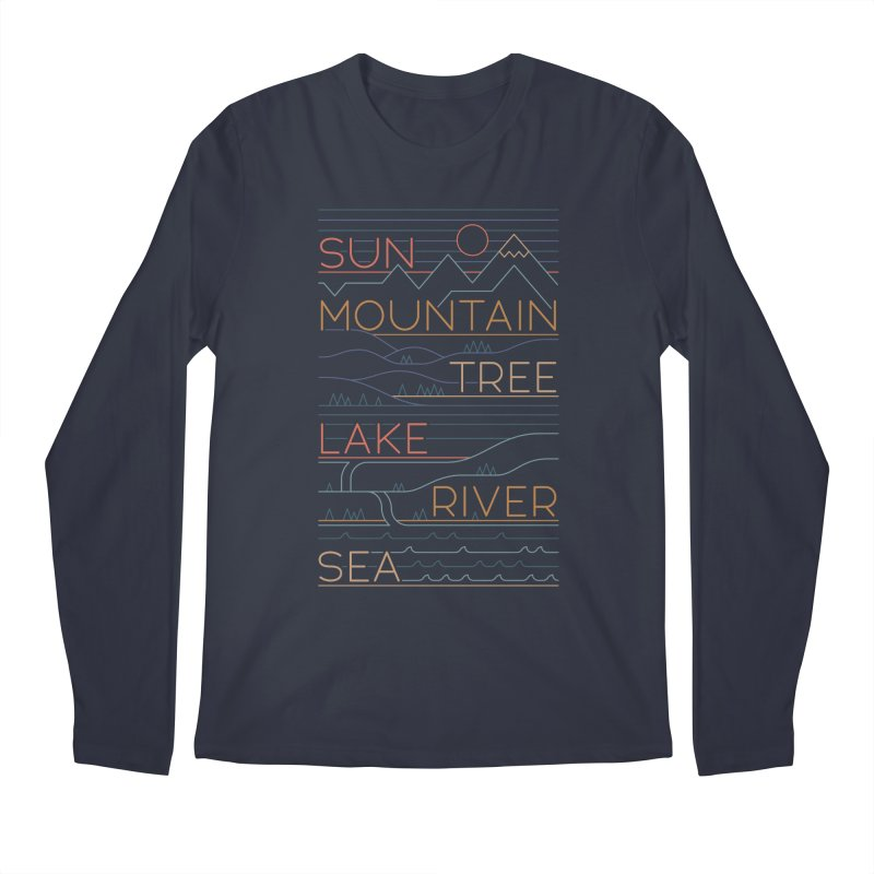 Sun, Mountain, Tree Men's Longsleeve T-Shirt by thepapercrane's shop
