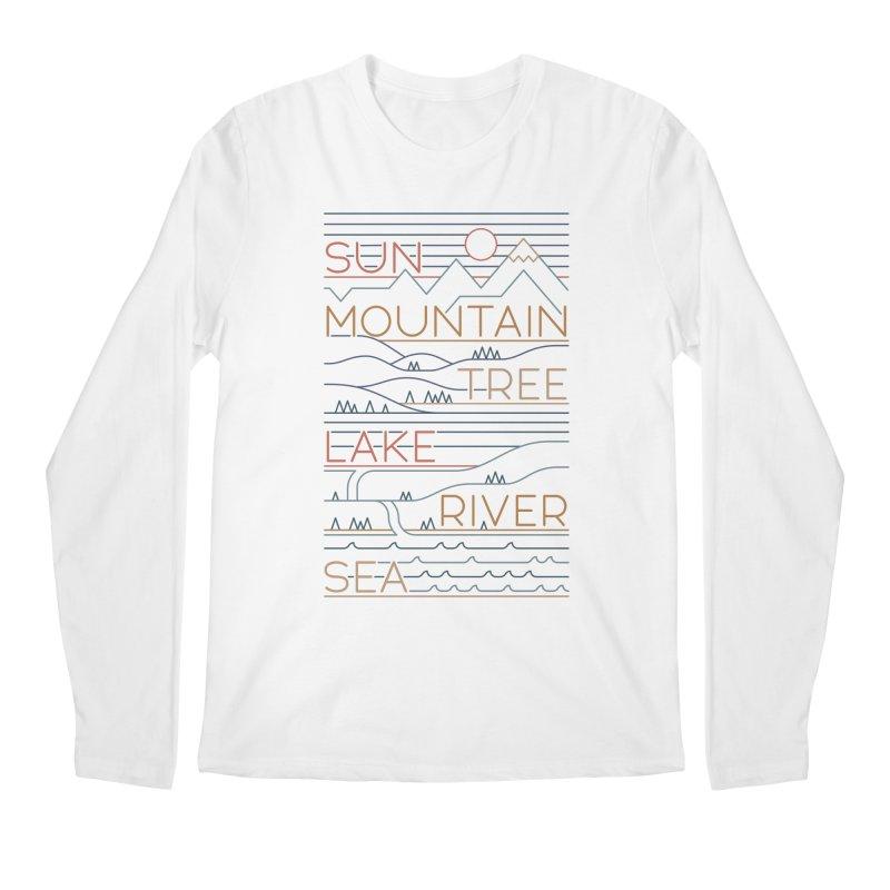 Sun, Mountain, Tree Men's Regular Longsleeve T-Shirt by thepapercrane's shop