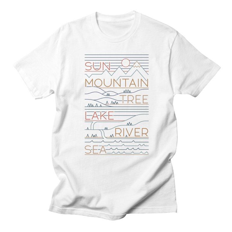 Sun, Mountain, Tree Men's Regular T-Shirt by thepapercrane's shop