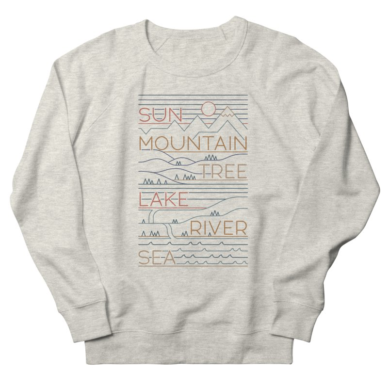 Sun, Mountain, Tree Women's French Terry Sweatshirt by thepapercrane's shop