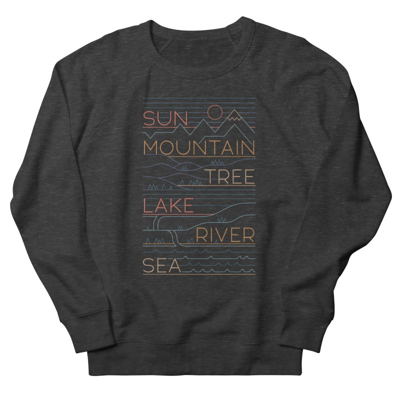 Sun, Mountain, Tree Men's French Terry Sweatshirt by thepapercrane's shop