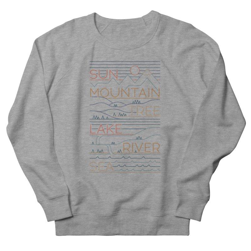 Sun, Mountain, Tree Men's French Terry Sweatshirt by thepapercrane's shop