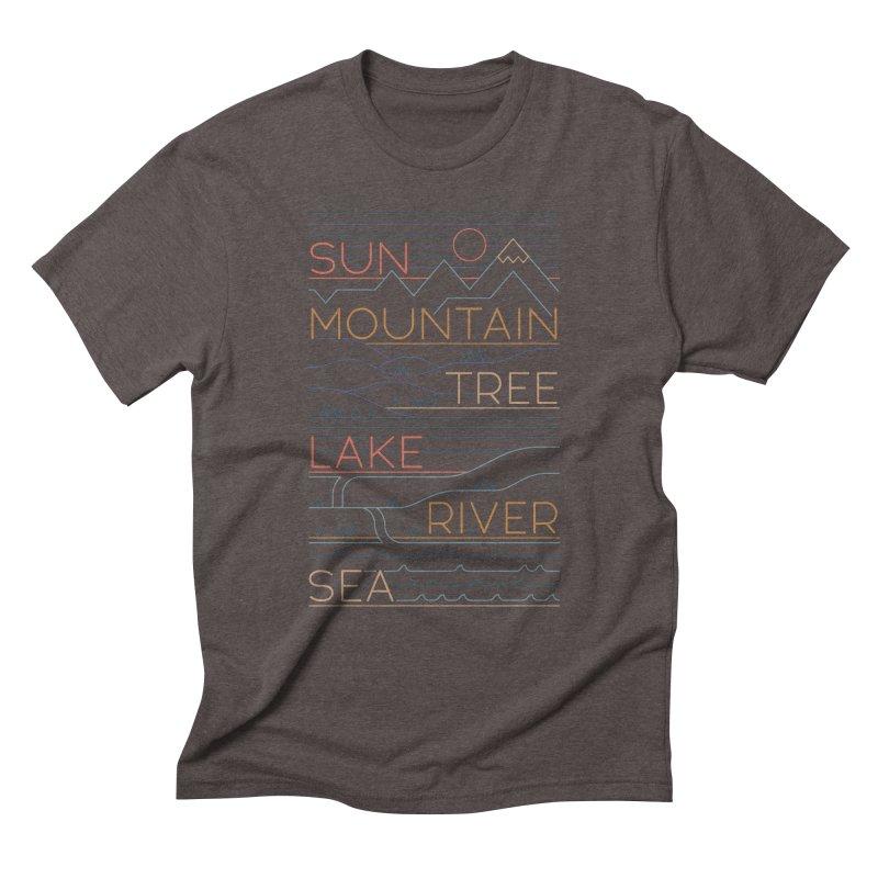 Sun, Mountain, Tree Men's Triblend T-Shirt by thepapercrane's shop
