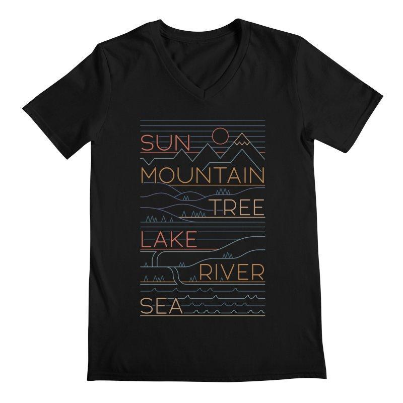 Sun, Mountain, Tree Men's Regular V-Neck by thepapercrane's shop