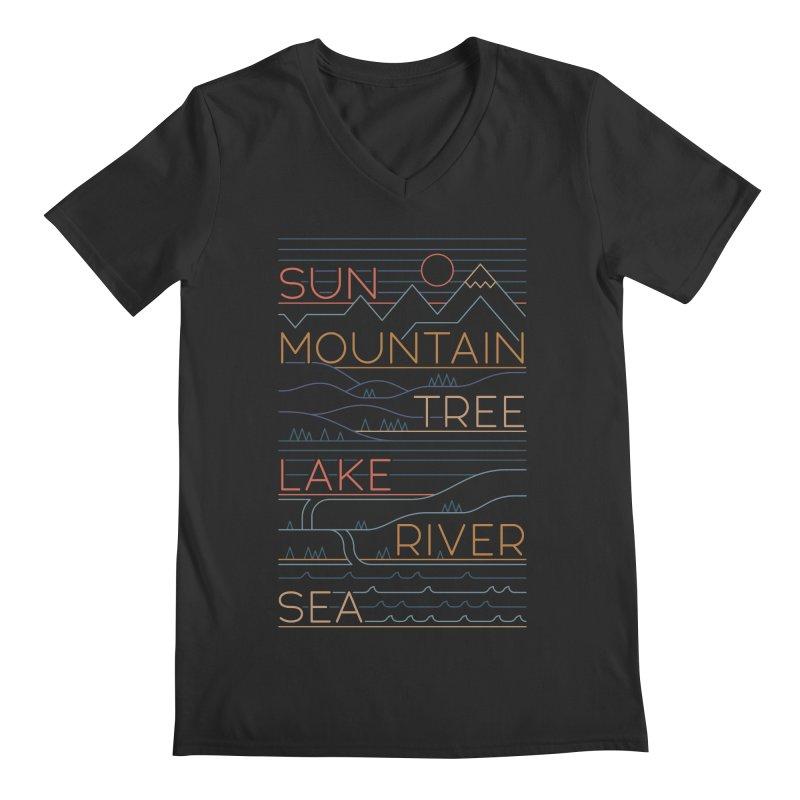 Sun, Mountain, Tree Men's Regular V-Neck by thepapercrane's shop