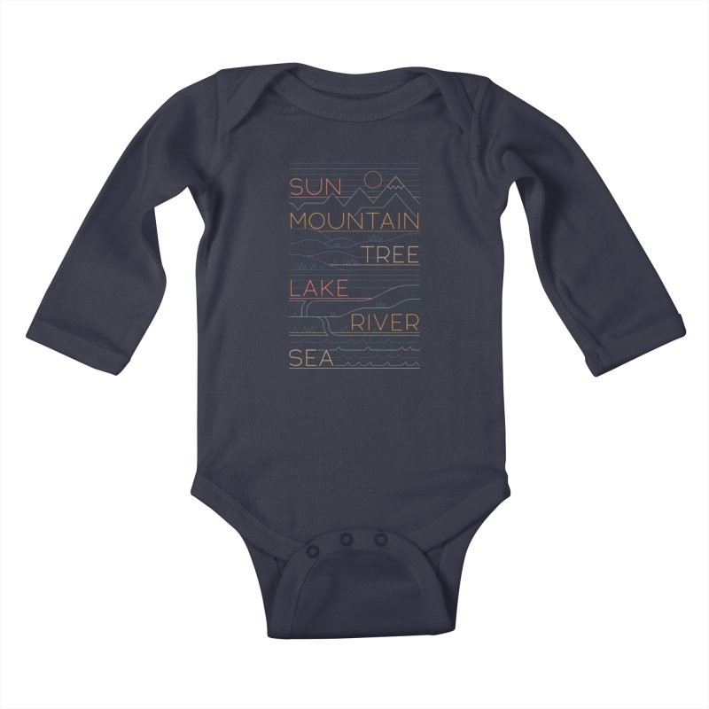 Sun, Mountain, Tree Kids Baby Longsleeve Bodysuit by thepapercrane's shop