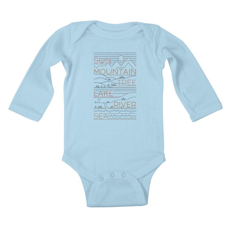Sun, Mountain, Tree Kids Baby Longsleeve Bodysuit by thepapercrane's shop