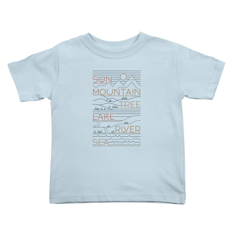 Sun, Mountain, Tree Kids Toddler T-Shirt by thepapercrane's shop