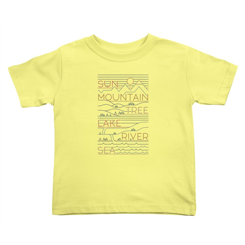 Sun, Mountain, Tree Kids Toddler T-Shirt by thepapercrane's shop