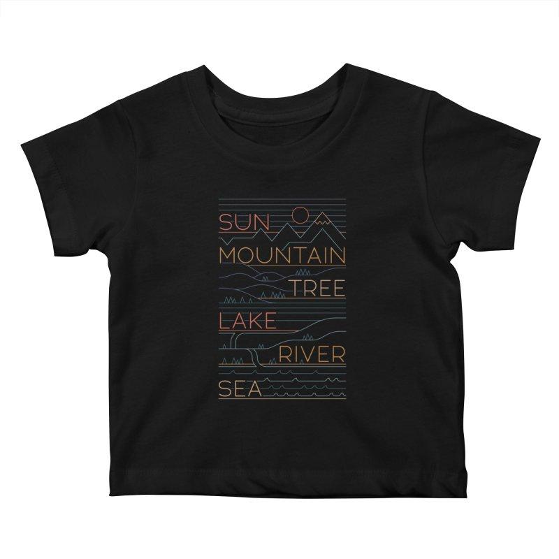 Sun, Mountain, Tree Kids Baby T-Shirt by thepapercrane's shop