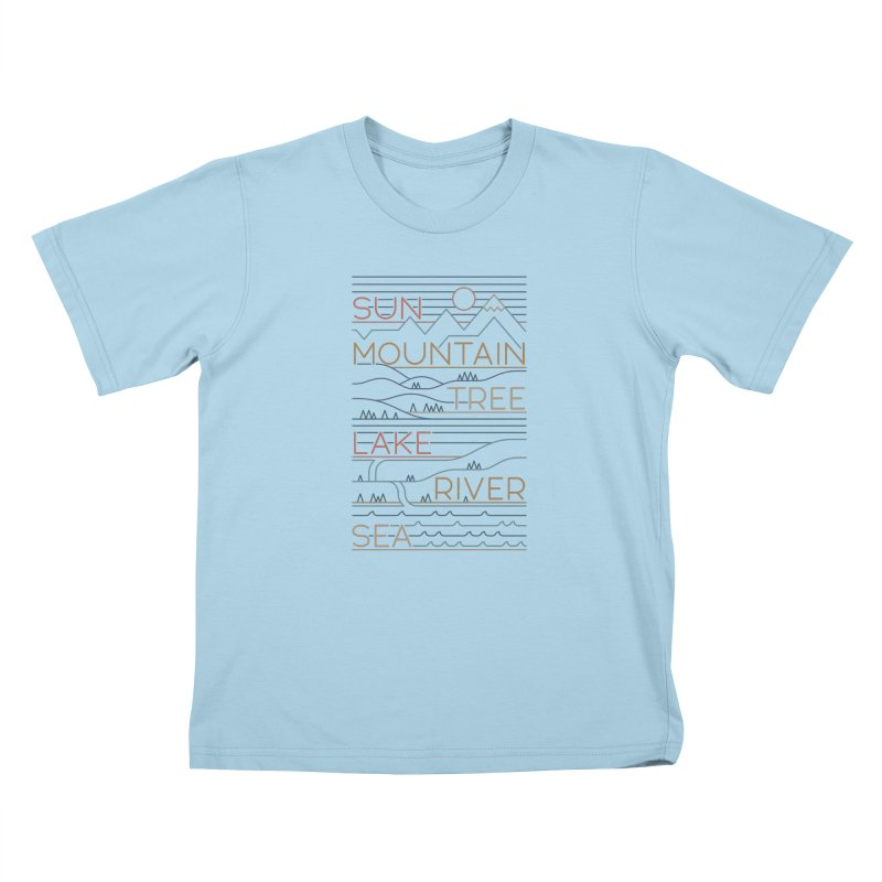 Sun, Mountain, Tree Kids T-Shirt by thepapercrane's shop