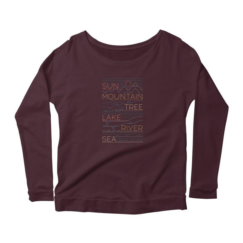 Sun, Mountain, Tree Women's Longsleeve T-Shirt by thepapercrane's shop