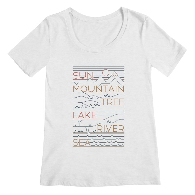 Sun, Mountain, Tree Women's Scoop Neck by thepapercrane's shop