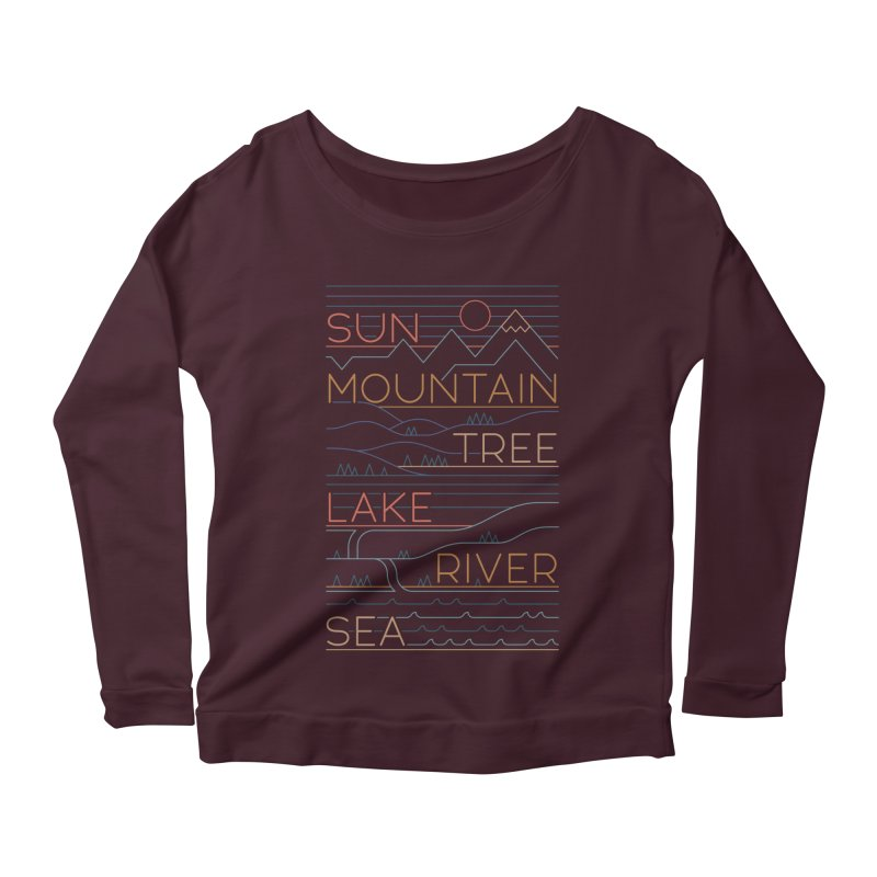 Sun, Mountain, Tree Women's Scoop Neck Longsleeve T-Shirt by thepapercrane's shop