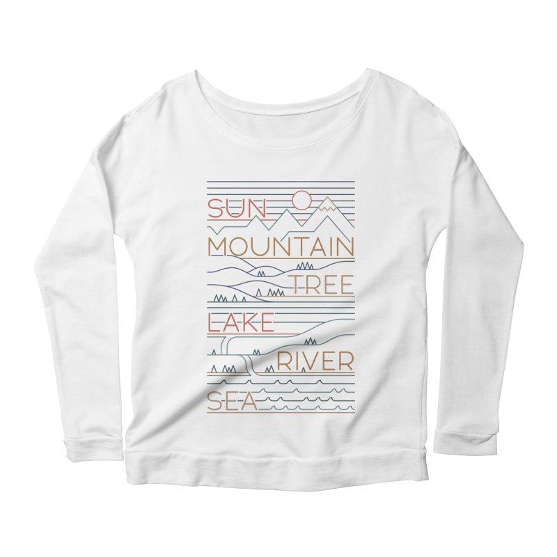 Sun, Mountain, Tree Women's Scoop Neck Longsleeve T-Shirt by thepapercrane's shop