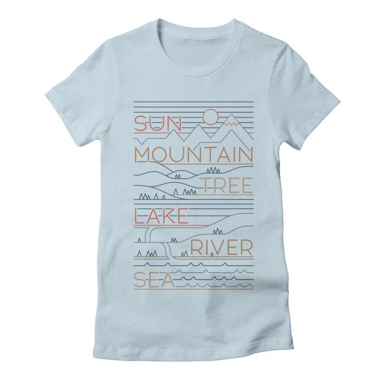 Sun, Mountain, Tree Women's Fitted T-Shirt by thepapercrane's shop