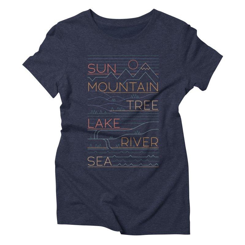 Sun, Mountain, Tree Women's Triblend T-Shirt by thepapercrane's shop