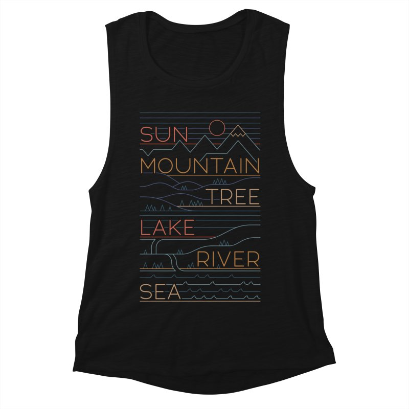 Sun, Mountain, Tree Women's Tank by thepapercrane's shop