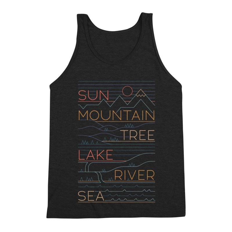 Sun, Mountain, Tree Men's Tank by thepapercrane's shop