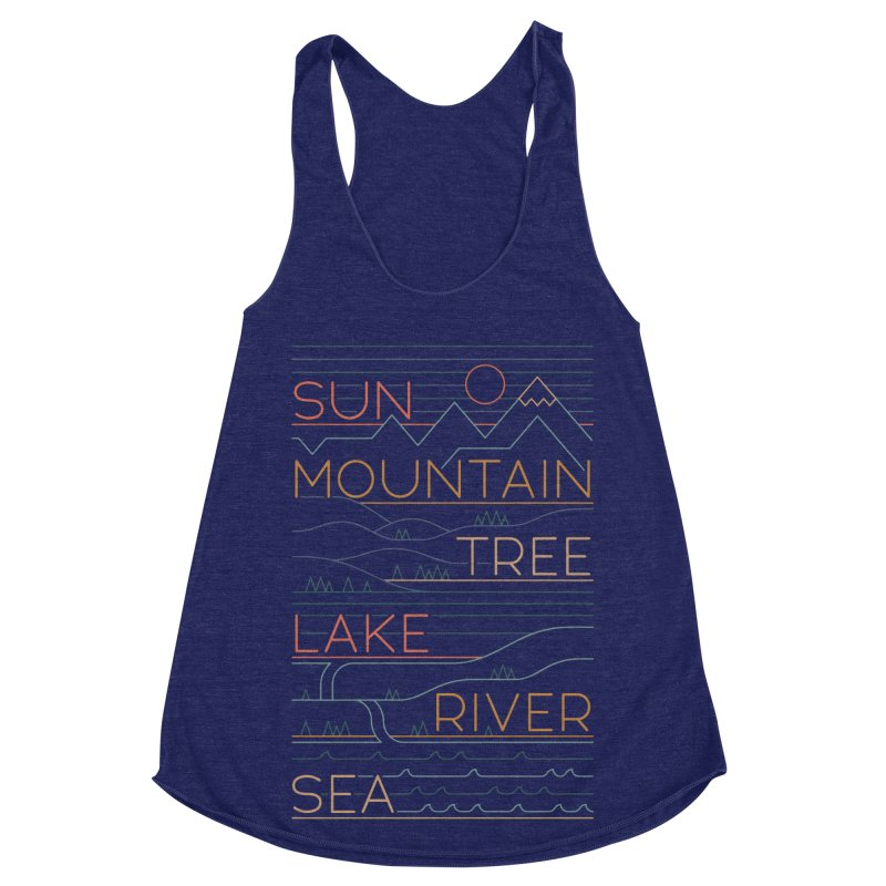 Sun, Mountain, Tree Women's Racerback Triblend Tank by thepapercrane's shop