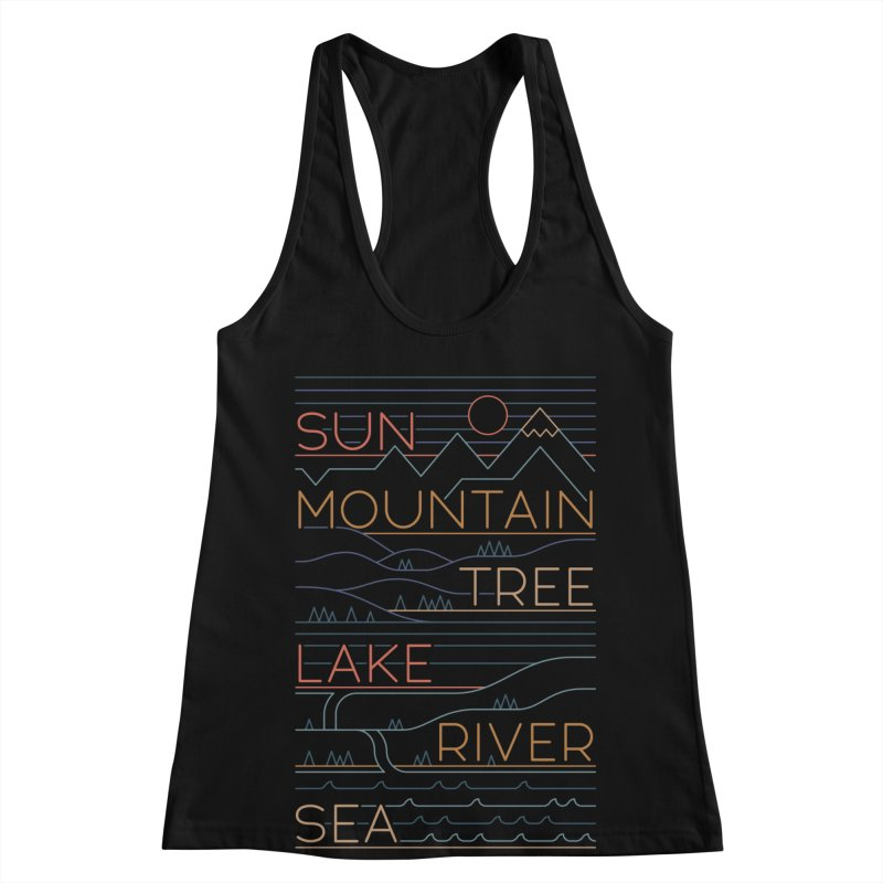 Sun, Mountain, Tree Women's Racerback Tank by thepapercrane's shop