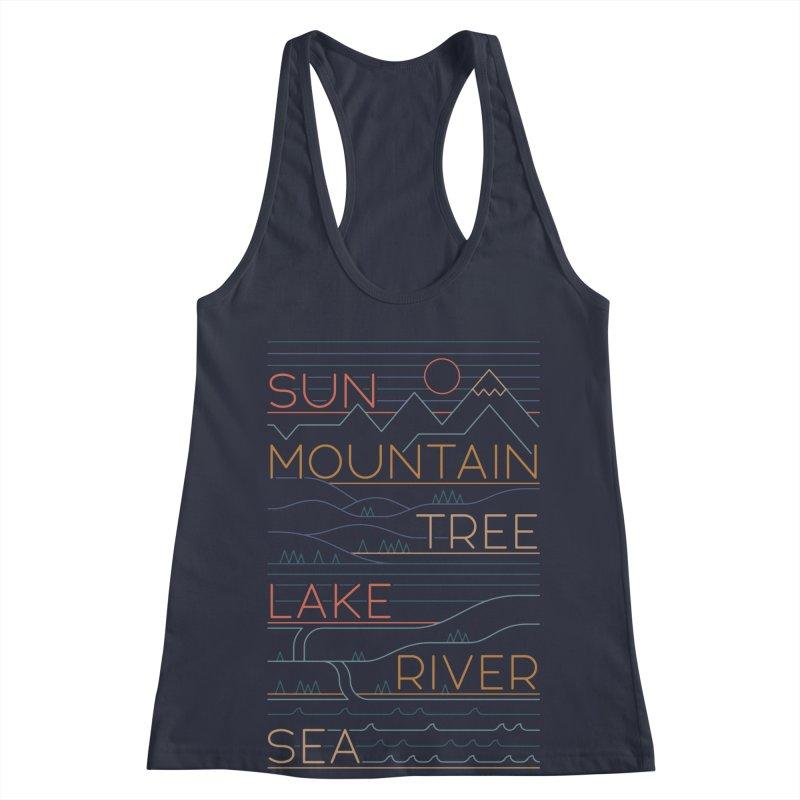 Sun, Mountain, Tree Women's Racerback Tank by thepapercrane's shop