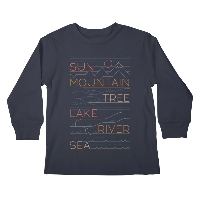 Sun, Mountain, Tree Kids Longsleeve T-Shirt by thepapercrane's shop