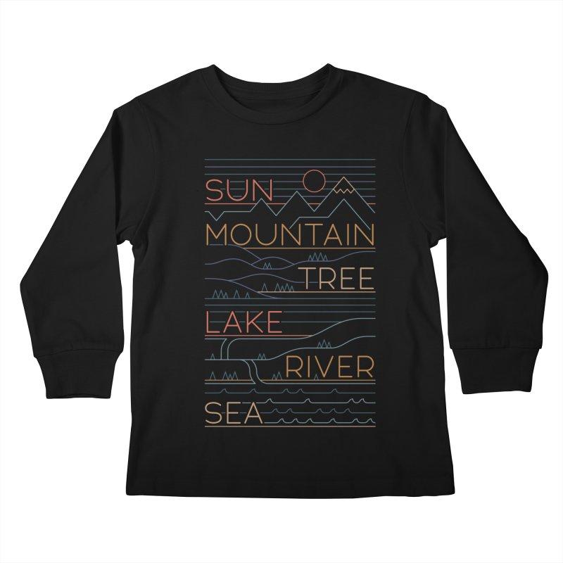 Sun, Mountain, Tree Kids Longsleeve T-Shirt by thepapercrane's shop