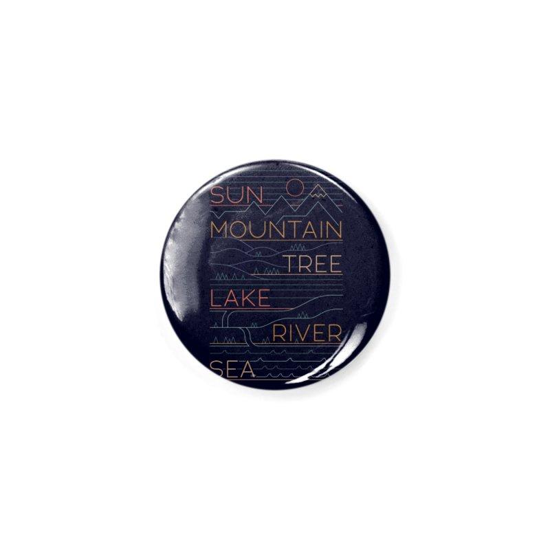 Sun, Mountain, Tree Accessories Button by thepapercrane's shop
