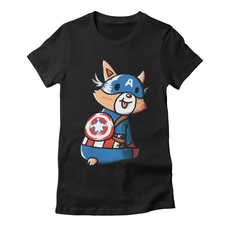 Captain Corgi Women's Fitted T-Shirt by La La Lune