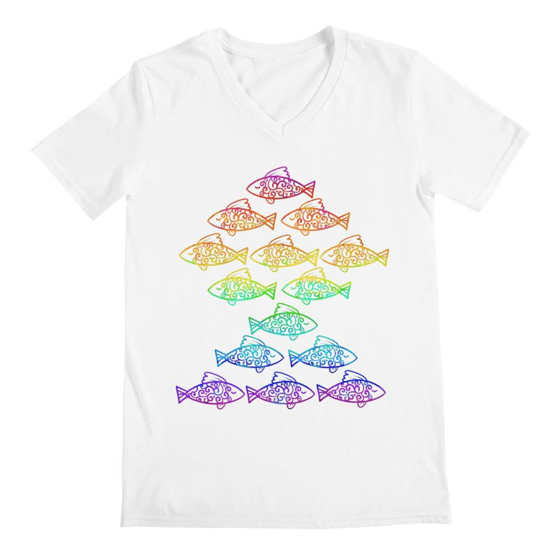 Fish of Colors Men's V-Neck by La La Lune