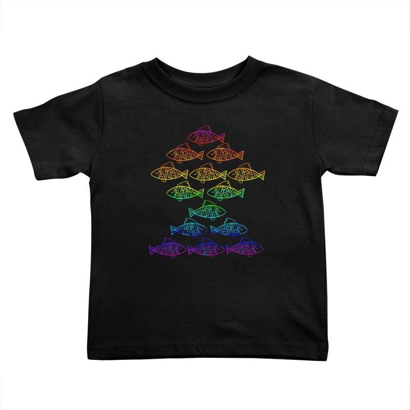 Fish of Colors Kids Toddler T-Shirt by La La Lune