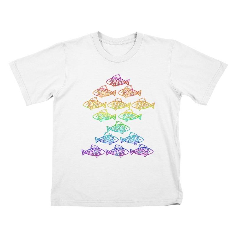 Fish of Colors Kids T-Shirt by La La Lune
