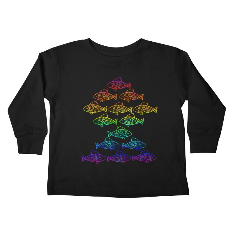 Fish of Colors Kids Toddler Longsleeve T-Shirt by La La Lune