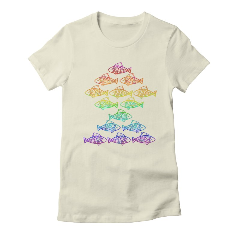 Fish of Colors Women's Fitted T-Shirt by La La Lune