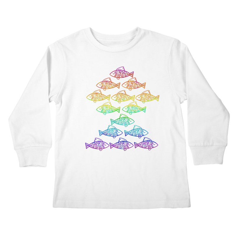 Fish of Colors Kids Longsleeve T-Shirt by La La Lune