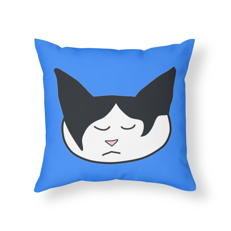 Sleepy Cat Home Throw Pillow by The Pickle Jar's Artist Shop