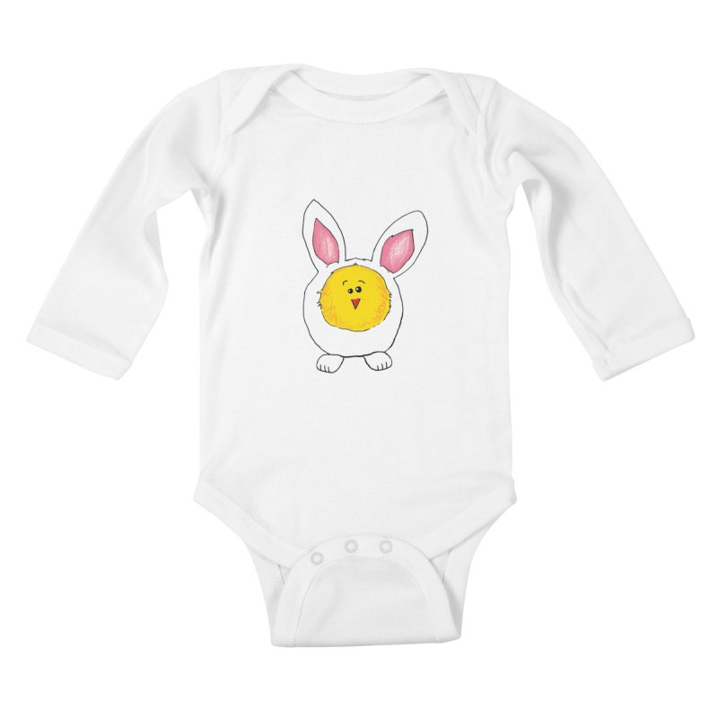 Chick in a Bunny Suit Kids Baby Longsleeve Bodysuit by The Pickle Jar's Artist Shop