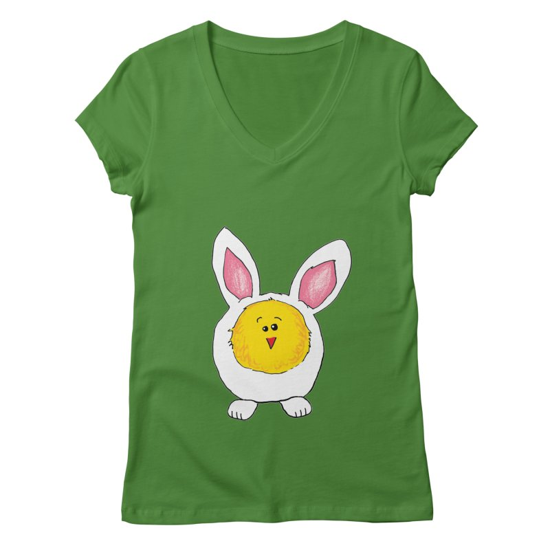 Chick in a Bunny Suit Women's V-Neck by The Pickle Jar's Artist Shop