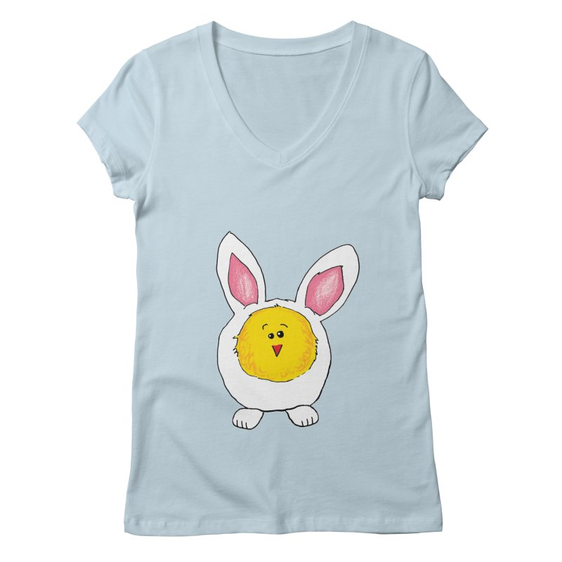 Chick in a Bunny Suit Women's Regular V-Neck by The Pickle Jar's Artist Shop