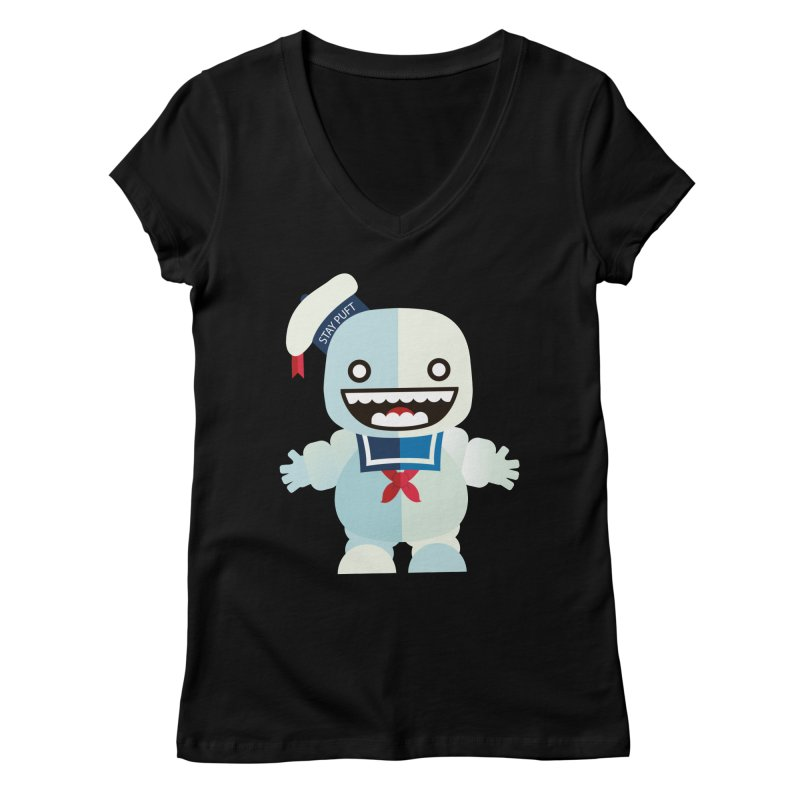 Stay Puft Man Women's V-Neck by libedlulo